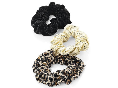 Three piece animal print, black velvet effect and gold tone hair scrunchie set