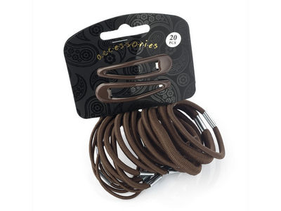 20 Piece Brown Elastic/Clip Hair Set
