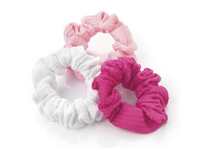 Three Pack Pink Woven Hair Scrunchie Bobbles