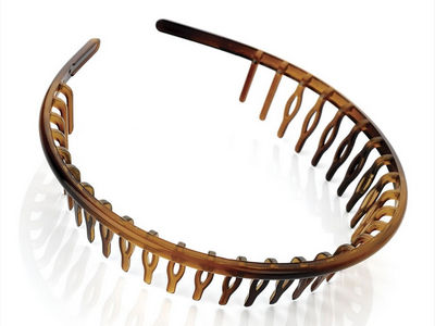 Tort Brown Narrow Headband with Comb