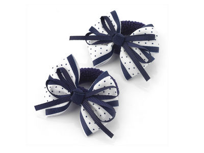 White Navy Spot Bow Ponio Donut Hair Bobbles