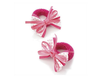 White Candy Pink Spot Bow Ponio Donut Hair Bobbles