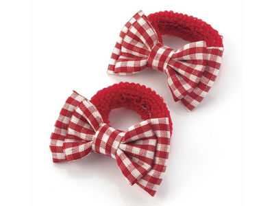 Red Gingham Bow Ponio Donut School Hair Bobbles