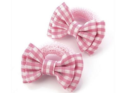 Pink Gingham Bow Ponio Donut School Hair Bobbles