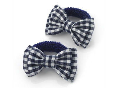 Navy Blue Gingham Bow Ponio Donut School Hair Bobbles
