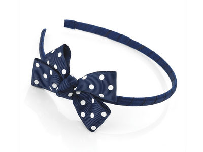 Girls Navy Blue Spot Headband