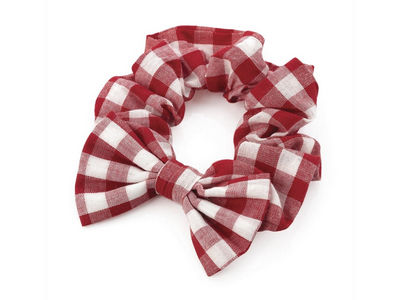 Girls Red Gingham Check Bow School Hair Scrunchie Bobble