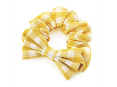 Girls Yellow Gingham Check Bow School Hair Scrunchie Bobble