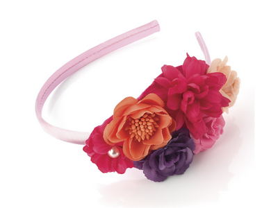Pink Purple Peach Flower Bouquet Alice Headband