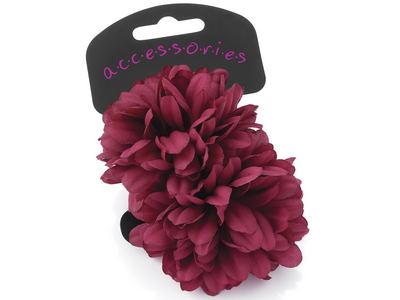 Large Burgundy Flower Hair Ponios