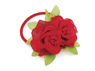 Red Rose Flower Hairband Elastic