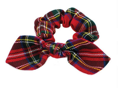 Red Tartan Hair Scrunchie Bobble