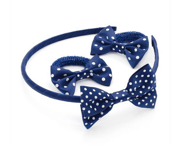 Girls Navy Blue Spot Ponio Donuts and Headband