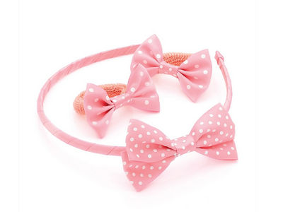 Girls Pale Pink Spot Ponio Donuts and Headband
