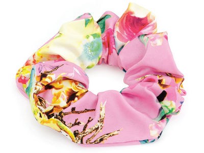 Rose Pink Floral Scrunchie