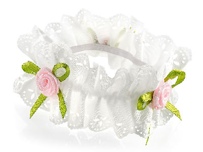 Cream and pink ribbon flower elasticated hair scrunchie