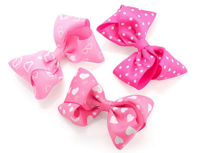 Pink Printed Bow Hair Clips