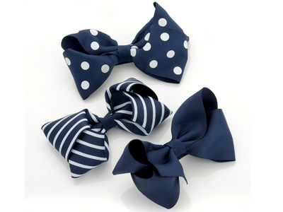 Navy Printed Bow Hair Clips