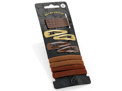 Brown Hair Clip Grip Bobble Elastic Set