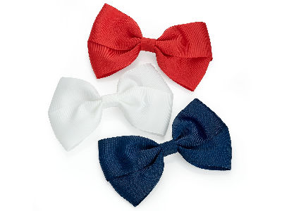 White Red Navy Bow Hair Clips