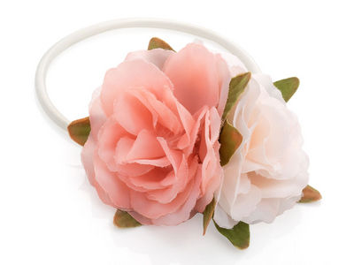 Pink Cream Double Flower Hairband Bobble