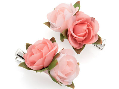 Pink Rose Flower Hair Clips