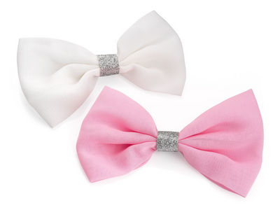 White Pink Glitter Bow Hair Clips
