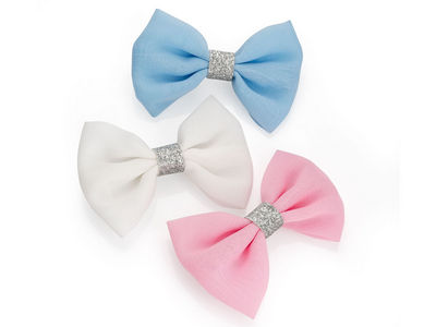 White Pink Blue Glitter Bow Hair Clips