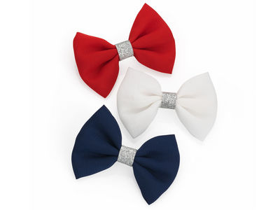 White Red Navy Glitter Bow Hair Clips
