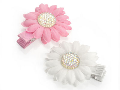 White Pink AB Flower Hair Clips