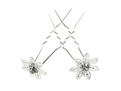 Pair of Flower Crystal Hair Pins