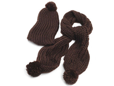 Dark Brown Chunky Knit Winter Scarf and Hat