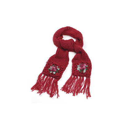 Red Rose Chunky Knit Winter Scarf
