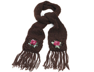 Brown Rose Chunky Knit Winter Scarf