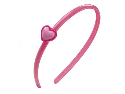 Pink Narrow Heart Alice Band