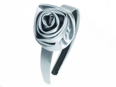 Silver Satin Rosette Alice Band