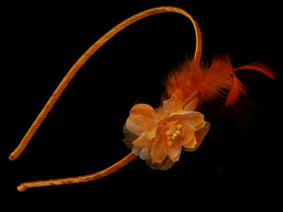 Orange Flower Feather Hair Band