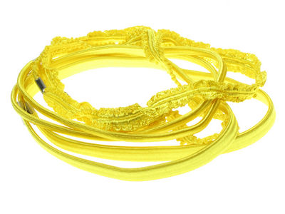 Bright Crinkle Headband Hair Elastics - Yellow