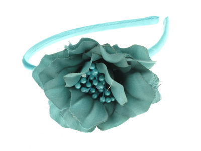 Aqua Blue Satin Flower Alice Band