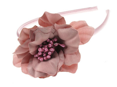 Dusky Pink Satin Flower Alice Band