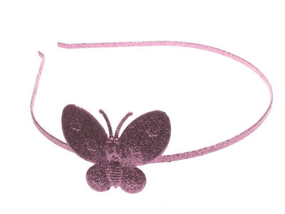Pink Glitter Butterfly Alice band