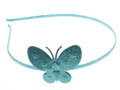 Blue Glitter Butterfly Alice band