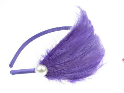 Purple Feather Bead Plume Fascinator