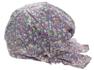 Violet Purple Floral Fitted Headscarf