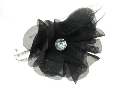 Black Crystal Chiffon Flower Headband