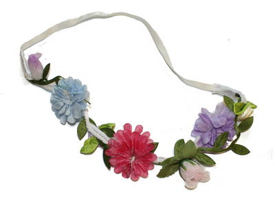 Blue Pastel Floral Garland Head Band