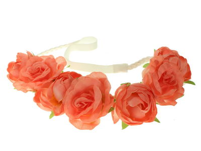 Coral Rose Garland Festival Head Band