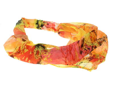 Orange Abstract Floral Elasticated Headwrap