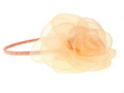 Peach Organza Flower Fascinator Headband