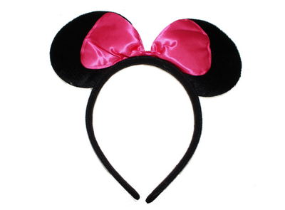 Pink Bow Mouse Ears Head Band